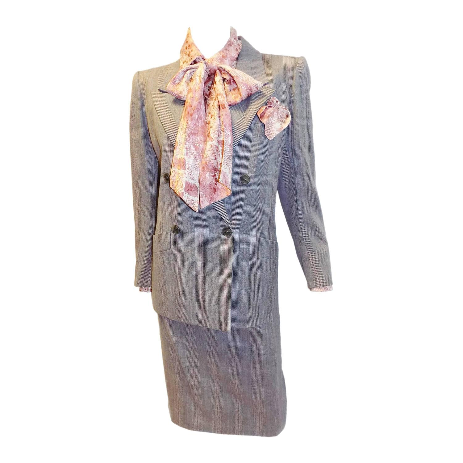 Yves saint laurent haute couture skirt suit with silk for Haute couture suits