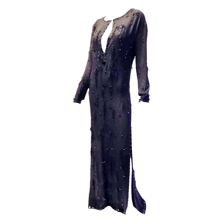 Prada silk beaded kaftan dress/gown For Sale at 1stdibs