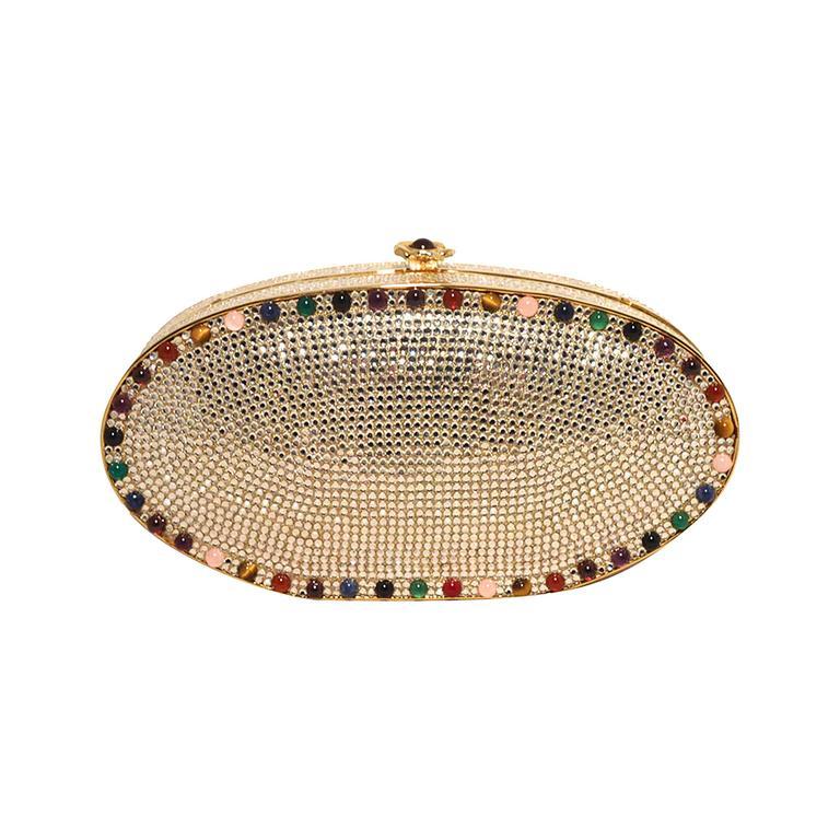 Judith Leiber Swarovski Crystal Oval Multi-colored Gem Minaudiere 1