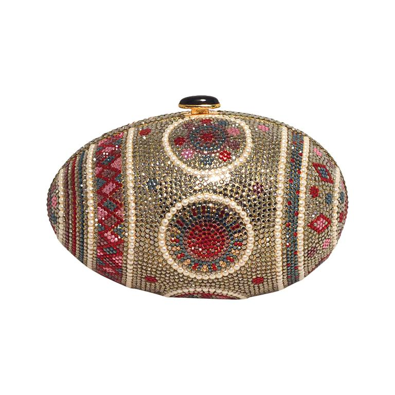 Judith Leiber Pearl Egg Swarovski Crystal Minaudiere Evening Bag