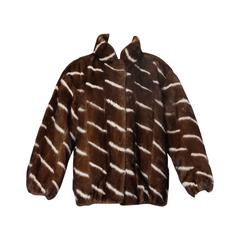 Vintage Brown + White Striped Mink Fur Coat with Leather Lining