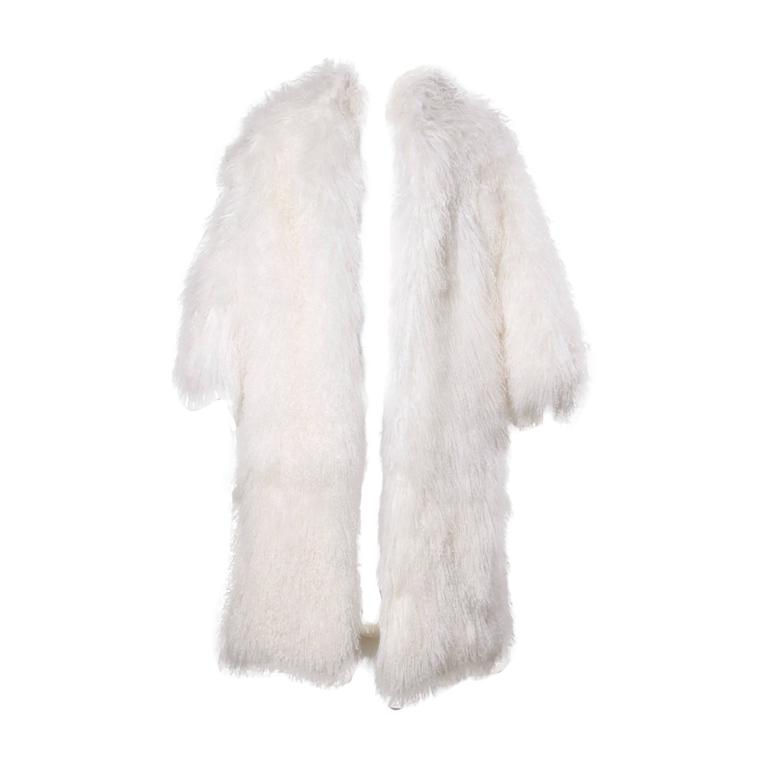 1970s Vintage White Shaggy Mongolian Lamb Fur Full-Length Coat For Sale