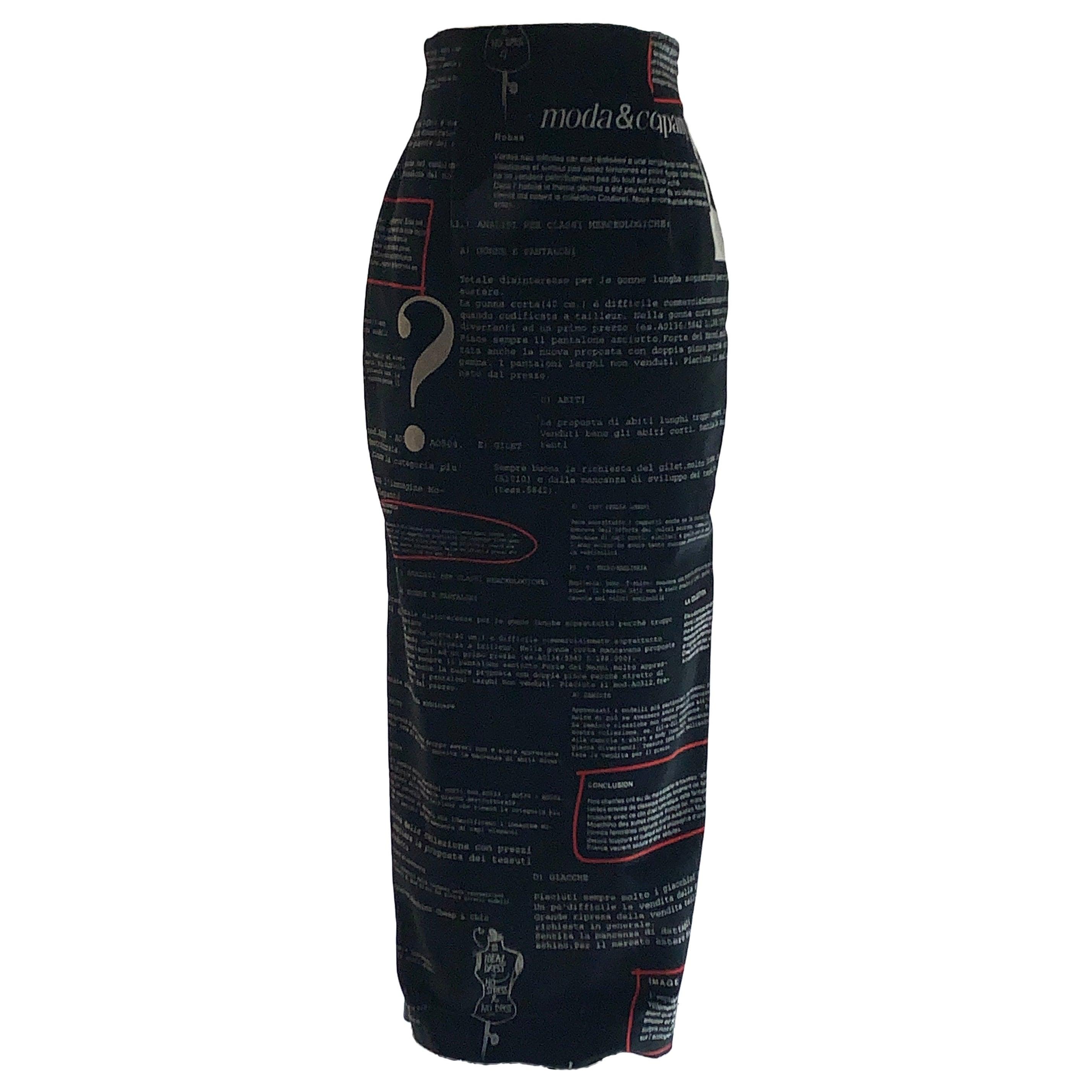 Moschino 1990s Black Velvet Italian Fashion Text Maxi Skirt