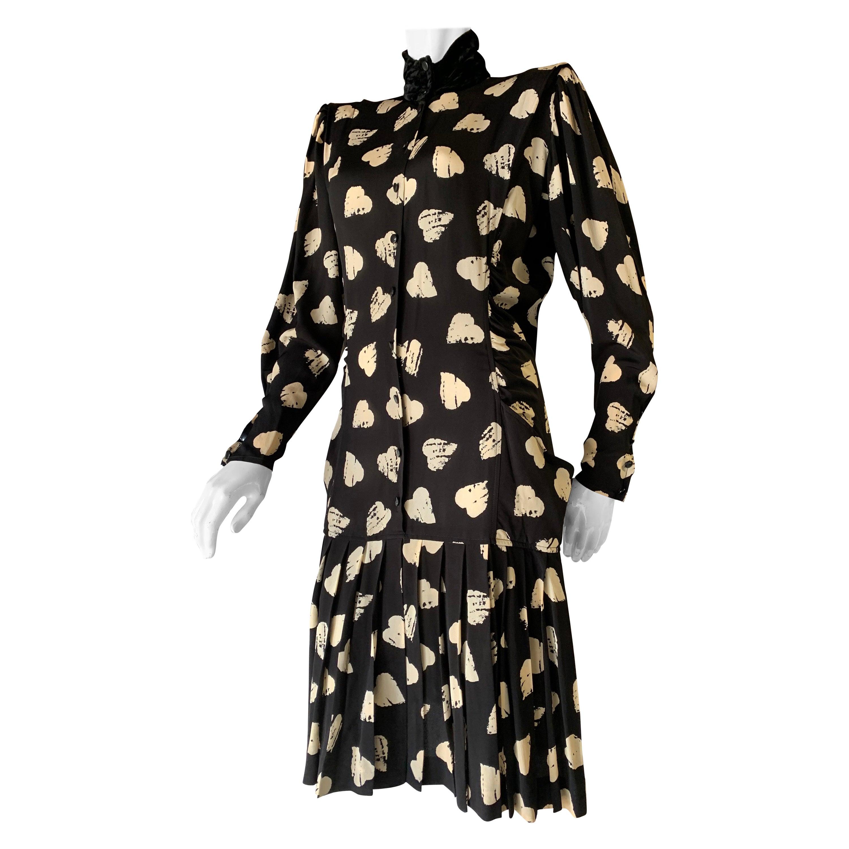 1980s Ungaro Black & Cream Rayon Drop Waist Dress W/ Velvet Collar & Heart Print