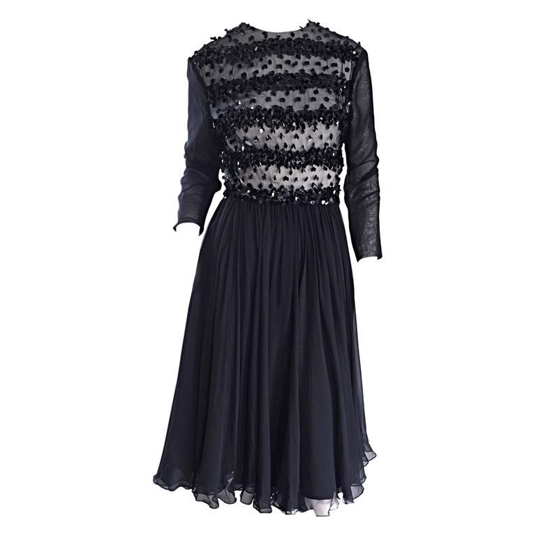 Pat Sandler for Highlight 1950s 50s Black Chiffon Beaded Paillette Vintage Dress