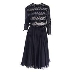 1960s Pat Sandler for Highlight 60s Black Chiffon Beaded Paillette Vintage Dress
