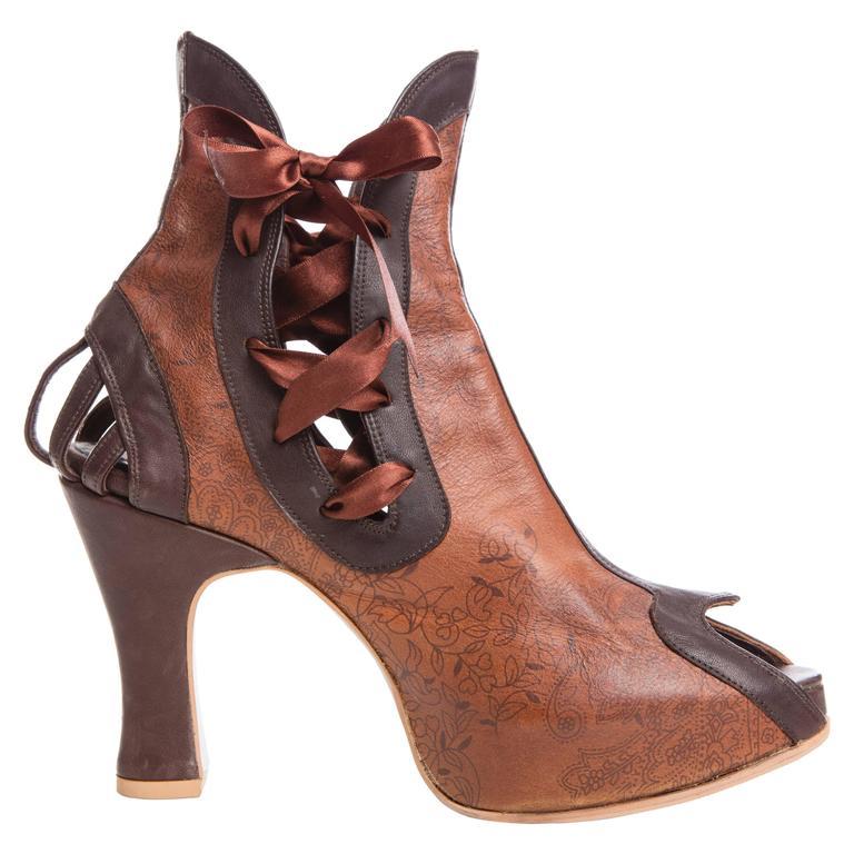 Natacha Marro Custom Made Printed Leather Shoes, Circa 1990s