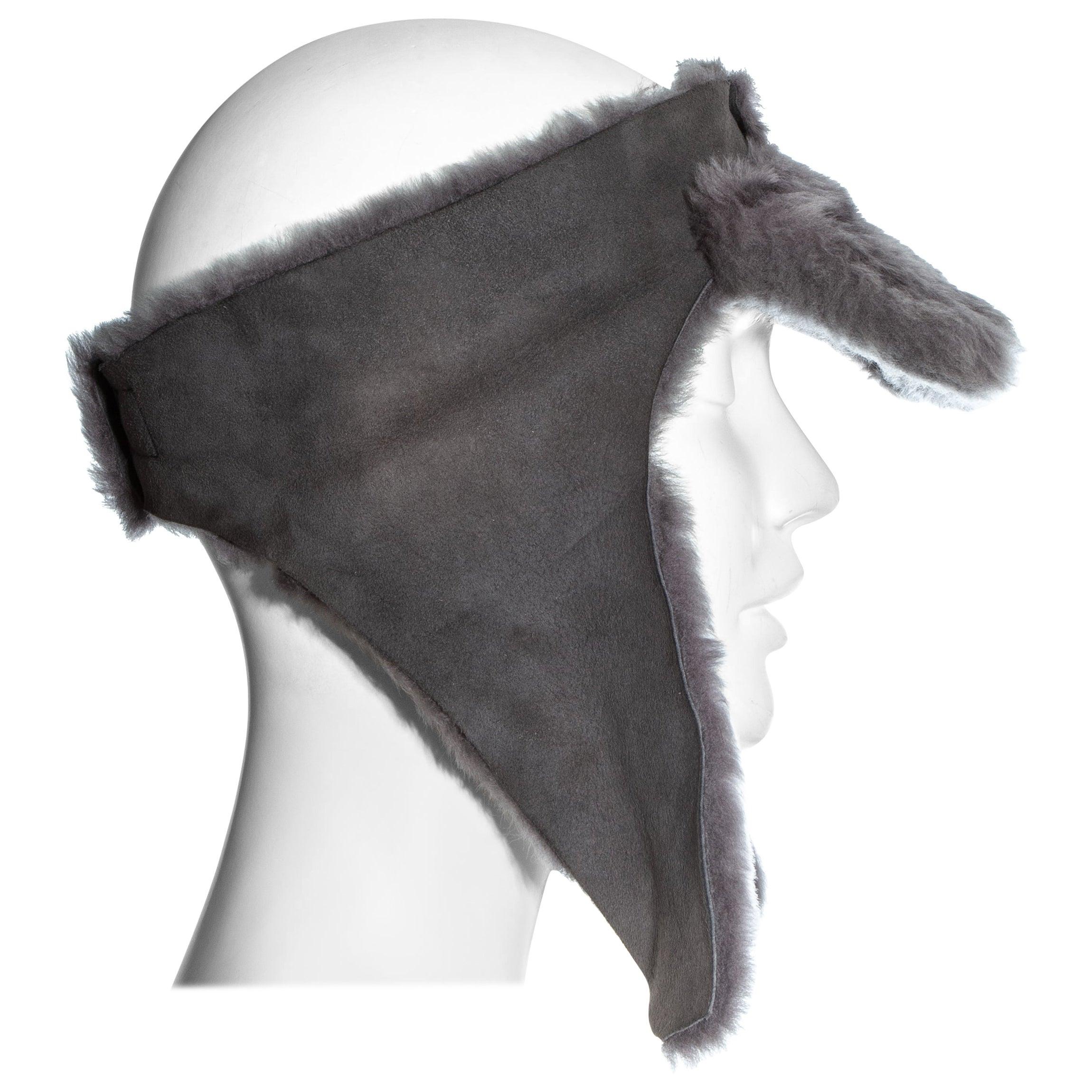 Vivienne Westwood grey sheepskin topless trapper hat, fw 1994