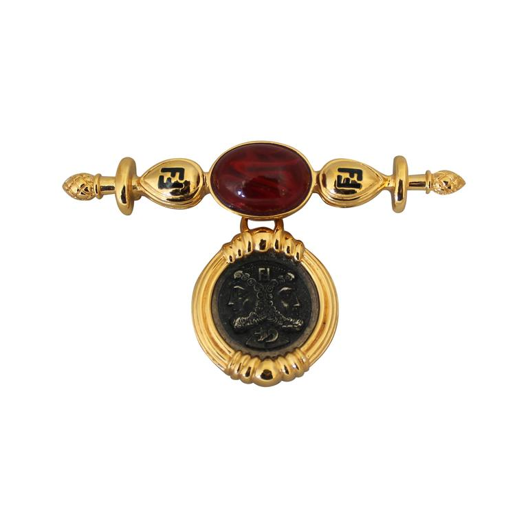 1980s Vintage Fendi Cabochon and Double Janus Head Coin Goldtone Pin