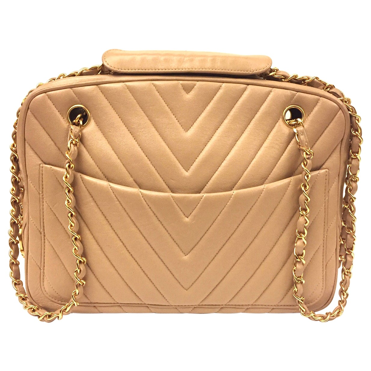 Chanel beige chevron shoulder bag