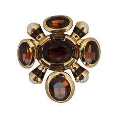 St. John Goldtone Smokey Topaz Colored Stone Brooch with Pearls