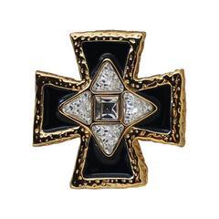 St. John Goldtone Black Enamel & Rhinestone Pin, Pendant, and Clip