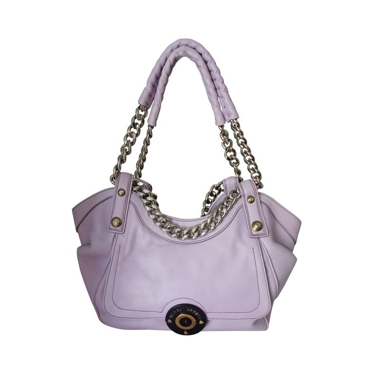 Henri Bendel Lavender Leather Handbag with Silver Chain 1