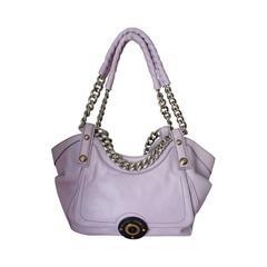 Henri Bendel Lavender Leather Handbag with Silver Chain