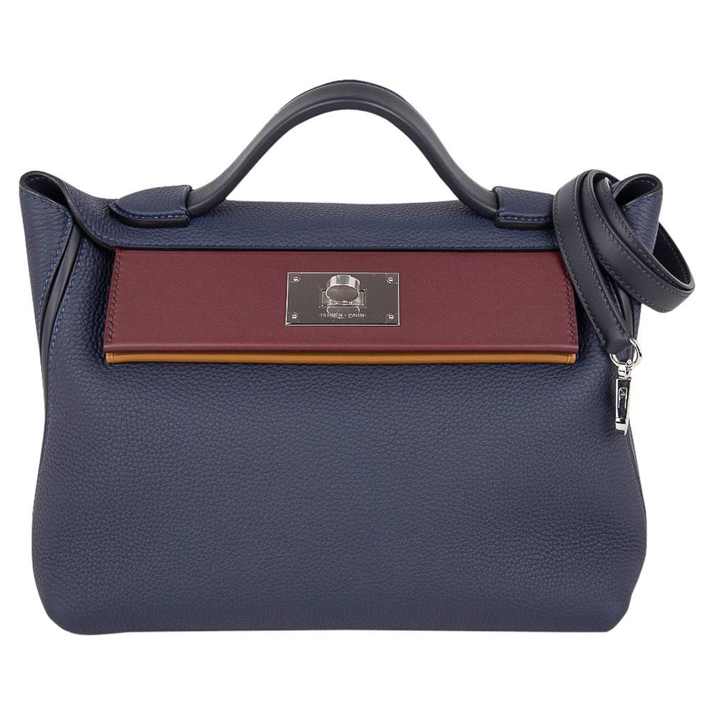 Hermes 24/24 29 Bag Blue Nuit/Indigo/Bordeaux/Kraft Togo / Swift Palladium