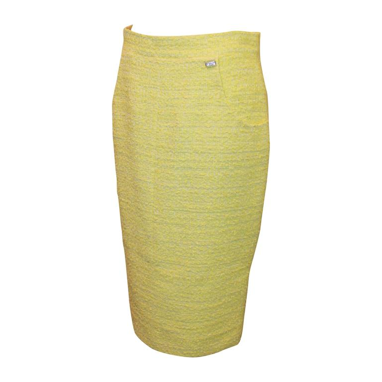 Chanel Yellow & Lime Tweed Skirt with 2 Pockets - 40 1