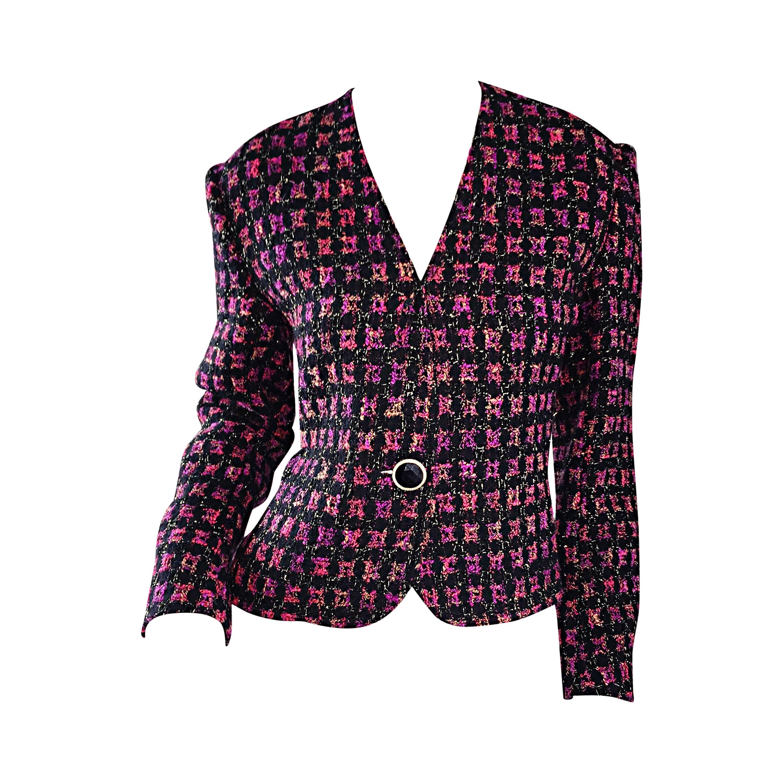 Vintage Jaeger 1990s Fantasy Tweed Purple + Pink + Black Metallic Blazer Jacket