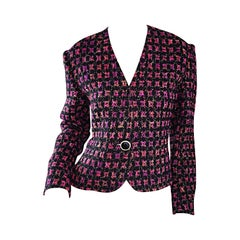 Vintage Jaeger 1990s Fantasy Tweed Purple + Pink + Black Metallic Blazer Jacket