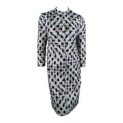 GIAMBATTISTA VALLI Size S Gray Brocade/ Floral Beaded Holiday Coat Dress