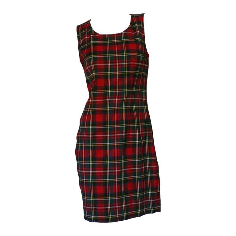 Moschino Vintage Tartan Plaid Mini Day Dress For Sale