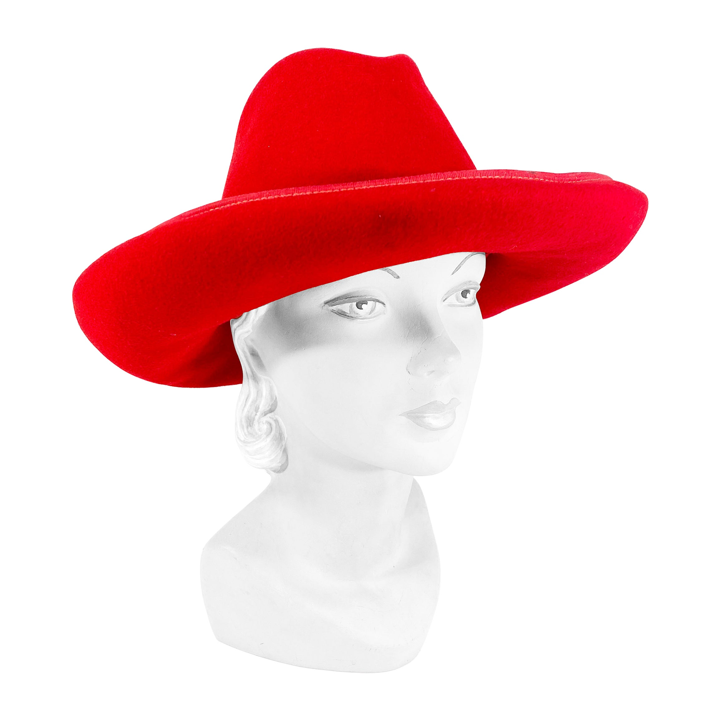 1960s/1970s Red Fur Felt Cowboy Hat