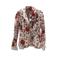 1990s Antonio Marras white with red roses jacket