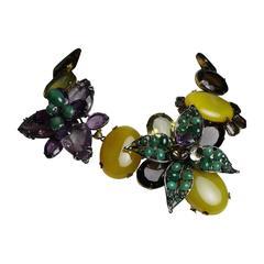Iradj Moini Amethyst, Emerald, and Quartz Double Flower Choker Necklace