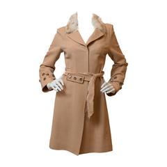 J. Mendel  Tan Coat with Fur Trim Collar