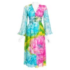 Vintage 1972 Hanae Mori Couture Beaded Floral Print Chiffon Angel-Sleeve Dress
