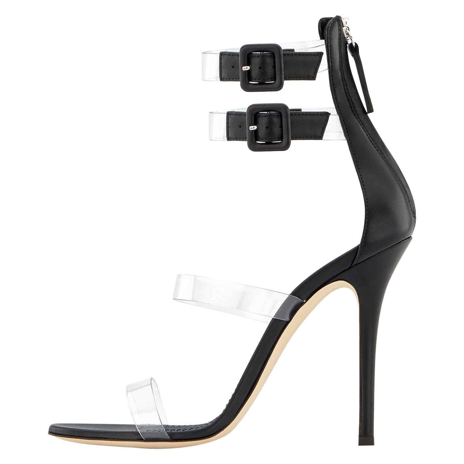 Giuseppe Zanotti NEW Black Leather Vinyl Evening Sandals Heels in Box (IT 41)