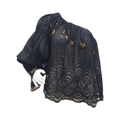 1990s Iconic Gucci black blouse by Tom Ford