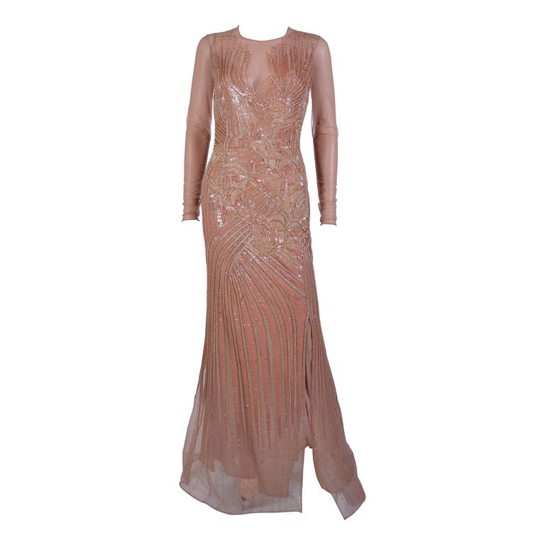 New VERSACE Fully Embroidered Nude Tulle Gown