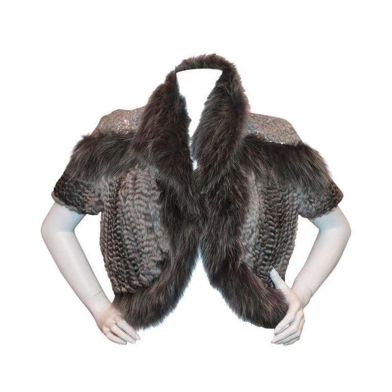 Hockley Grey Chinchilla And Fox Knitted Bolero W Sequin