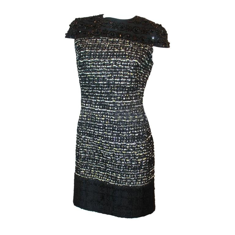 Giambattista Valli Black Stone and Mulit Tweed Dress - 10 For Sale