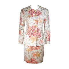 Valentino Coral Ocean Life Motif Skirt Suit with Rope Pattern Size Medium Large