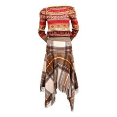 2005 ALEXANDER MCQUEEN runway fair isle sweater and tartan fringed skirt