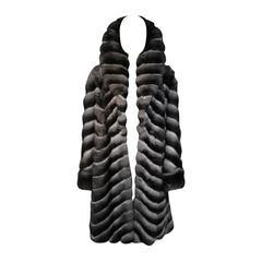 Louis Feraud Paris Chinchilla Coat with Large Collar