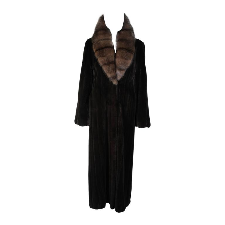 Valentino Female Black Forest Mink Coat with Sable Collar For Sale