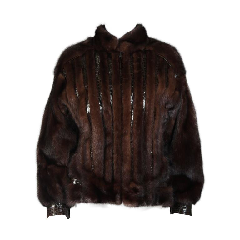 Giorgio Sant'Angelo Mink and Alligator Sports Coat with Leather For Sale