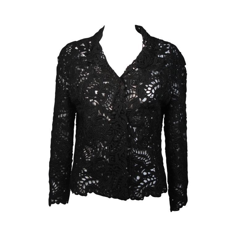Oscar De La Renta Black Embroidered Sheer Jacket Size Medium