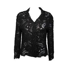 Oscar De La Renta Black Embroidered Sheer Jacket Size Medium