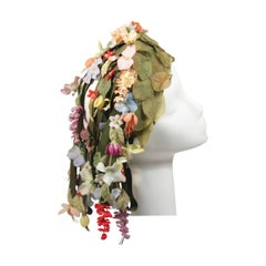 Jack McConnell Cascading Floral Hat with Green Ribbons