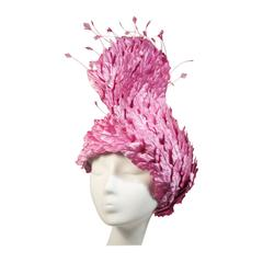 Jack McConnell Pink Leaf Hat with Rhinestones and Feathers Excellent Condition