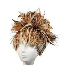 Jack McConnell Brown Orange and Oatmeal Feather Hat Excellent Condition
