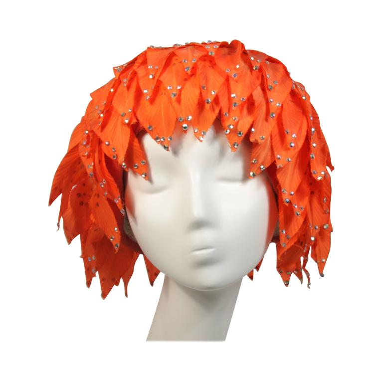 Jack McConnell Orange Petal Hat with Rhinestones For Sale