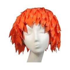 Jack McConnell Orange Petal Hat with Rhinestones