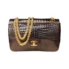 Chanel Chocolate Crocodile Timeless Double Flap Bag