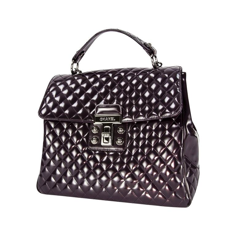 72a63703ab8bf0 Chanel Vintage Large Patent Aubergine Tote Bag with Quilted Details For Sale