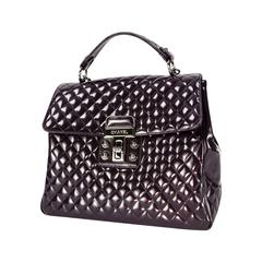 Chanel Vintage Large Patent Aubergine Tote Bag with Quilted Details
