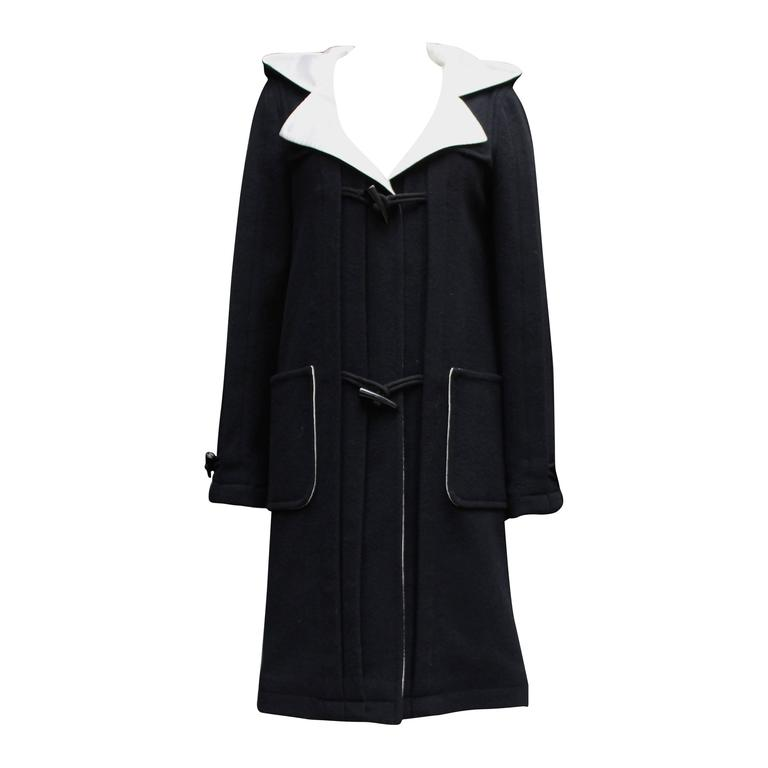 Chanel Black and White Duffle Coat, 2006 For Sale